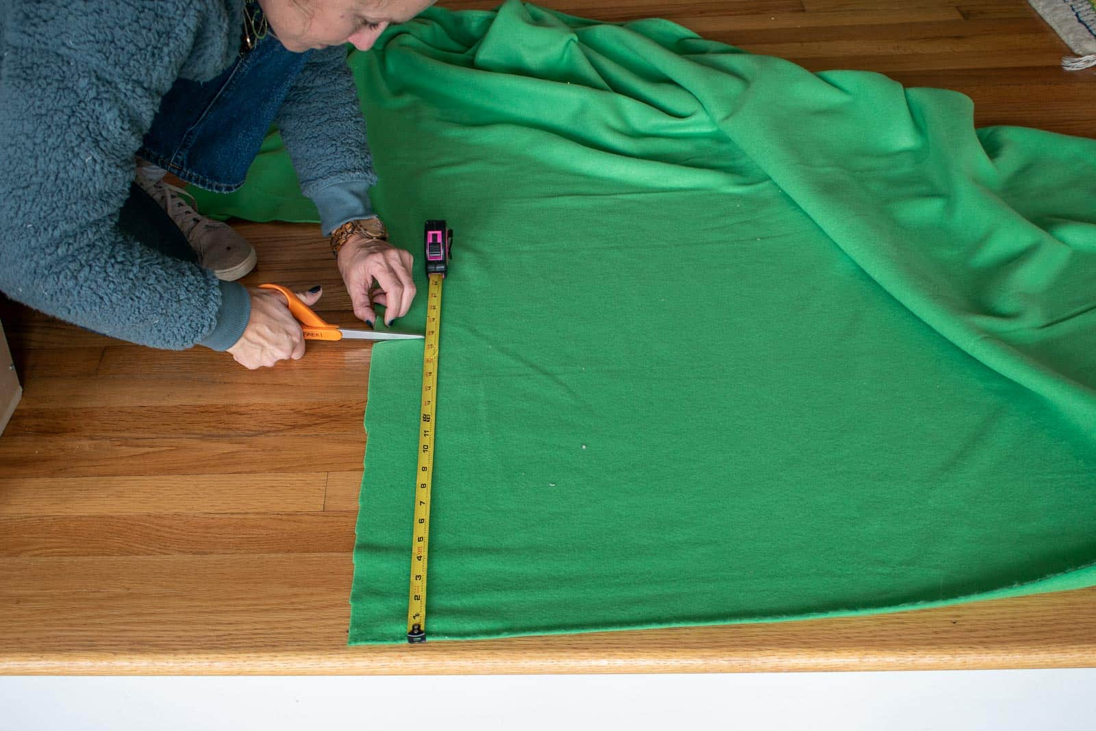 cut the fabric for the ottoman