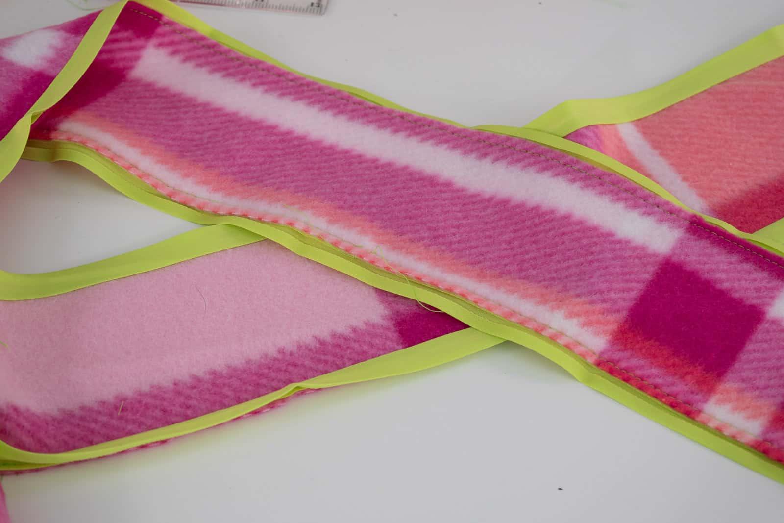 sew bias tape on ribbon edges