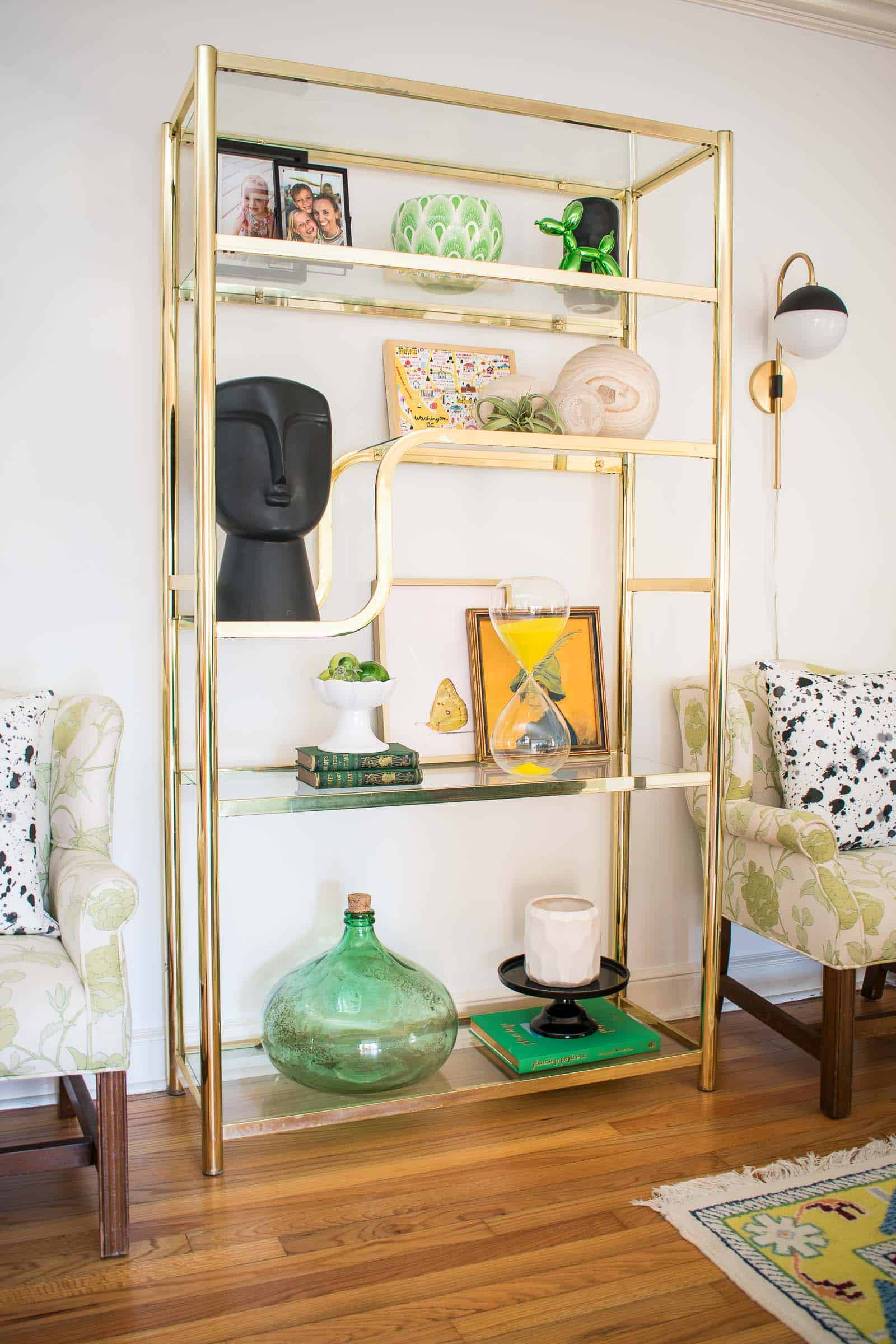 vintage brass shelves in living room