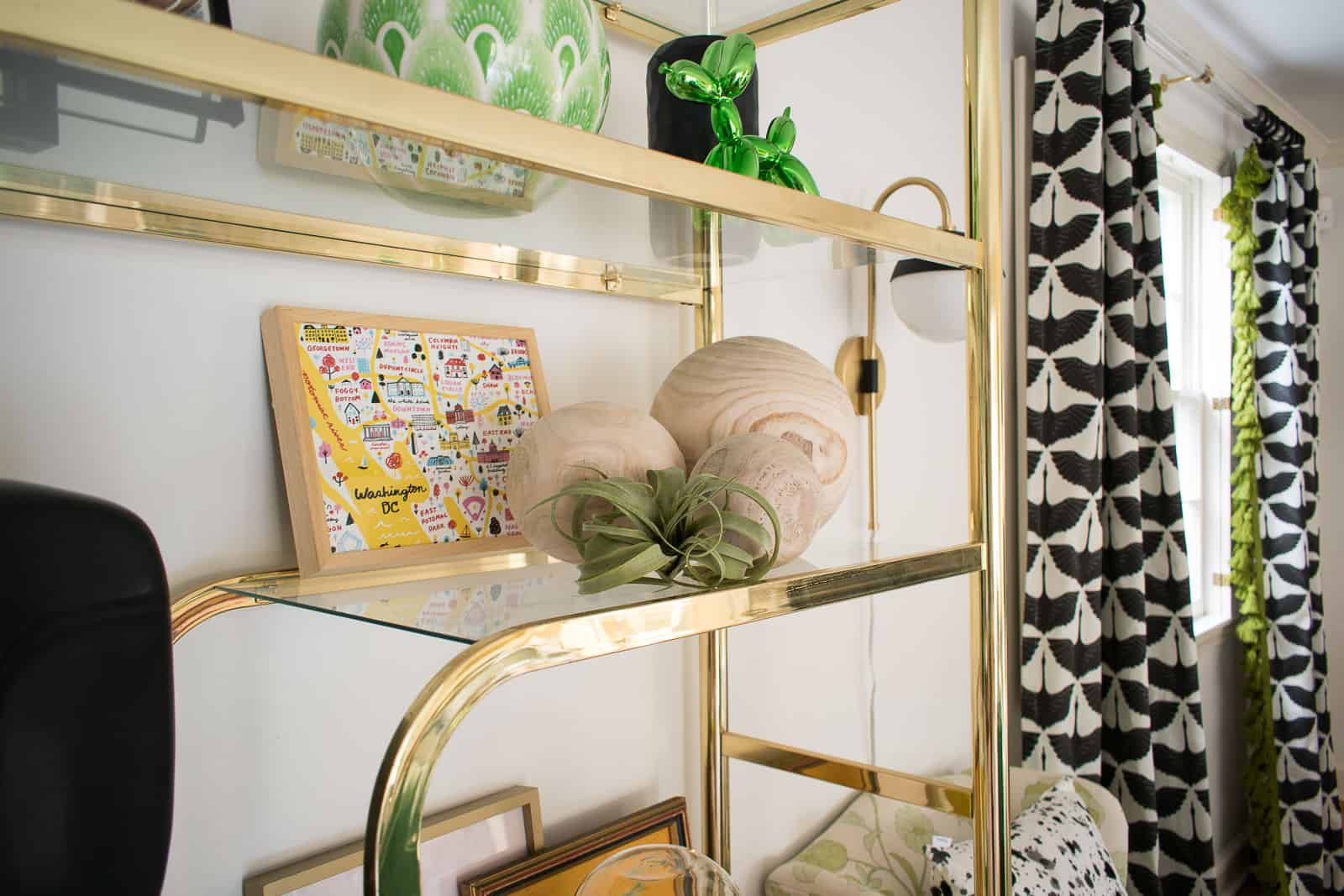 accessories on brass shelf