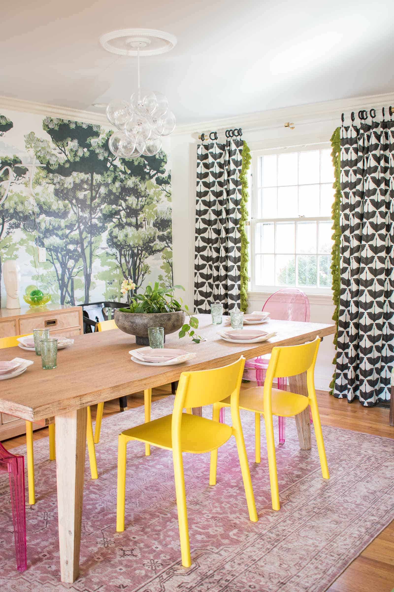 black and white curtains in dining room