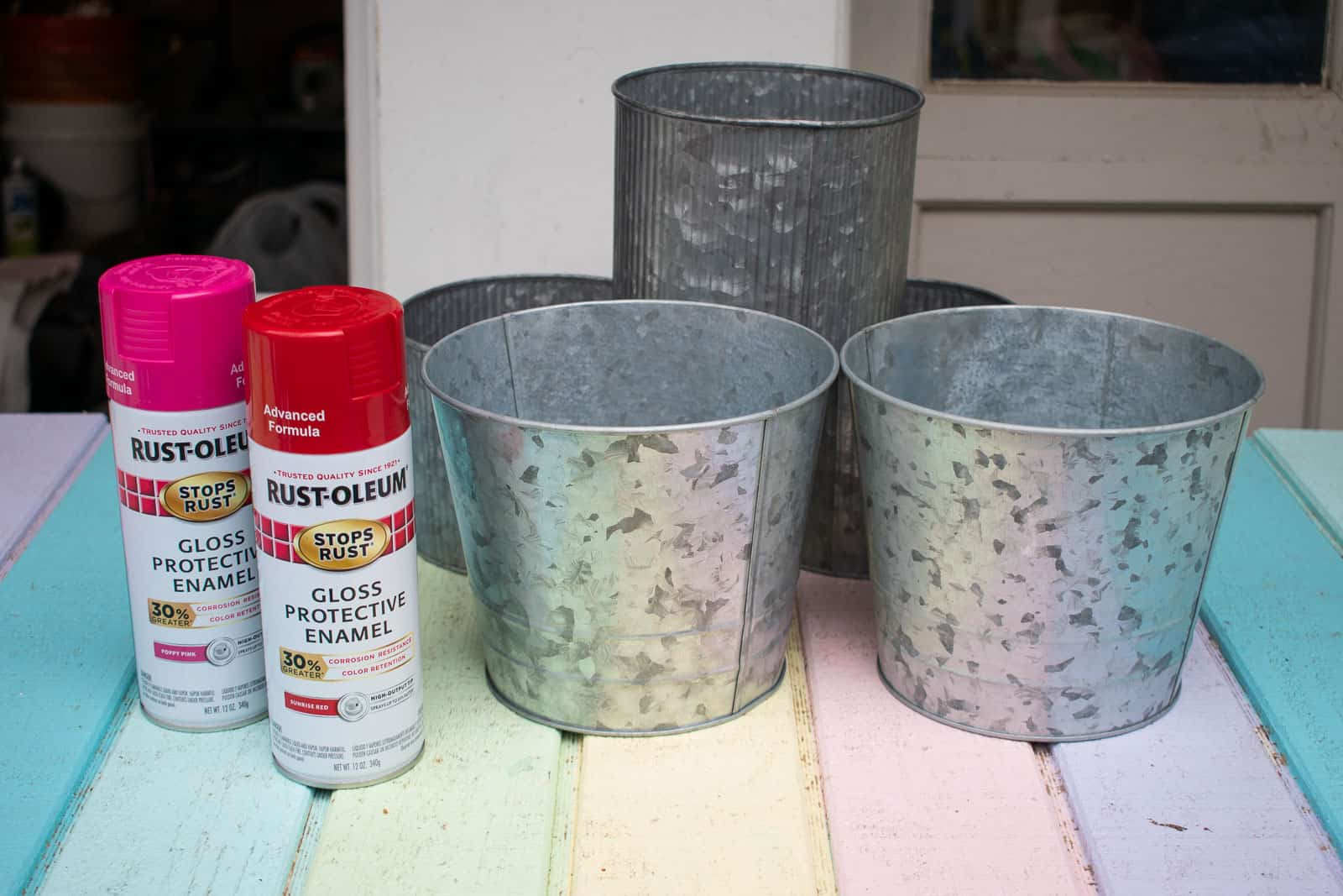 spray painted metal planters