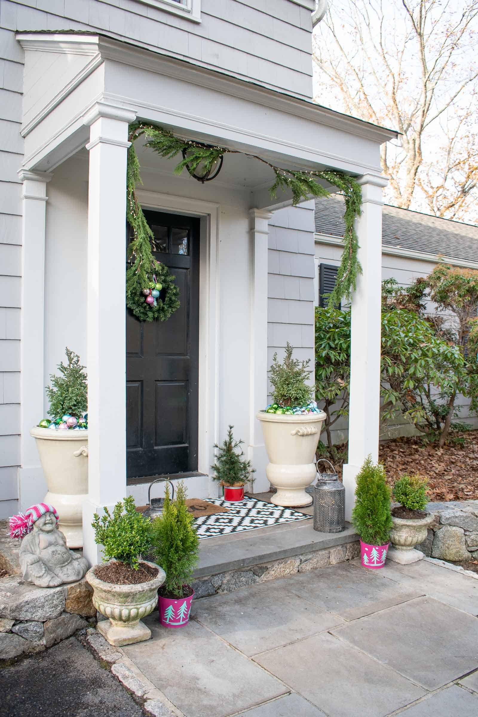 colorful planters on front porch