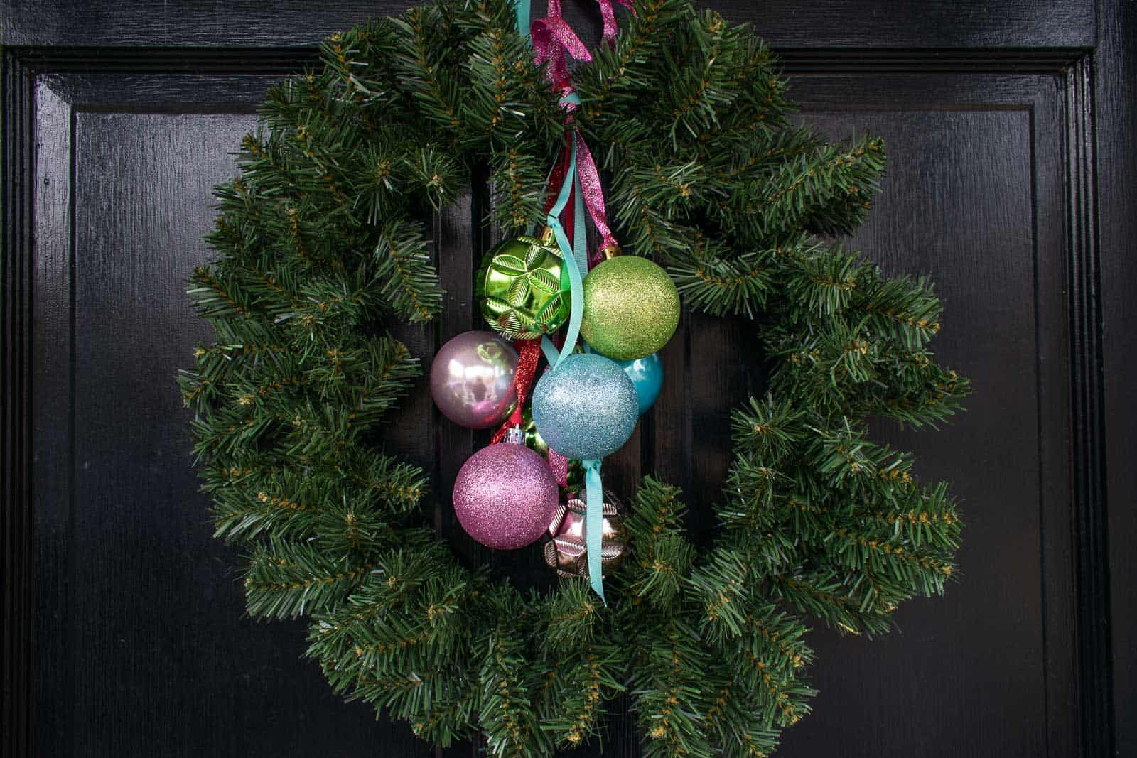 ornaments on wreath