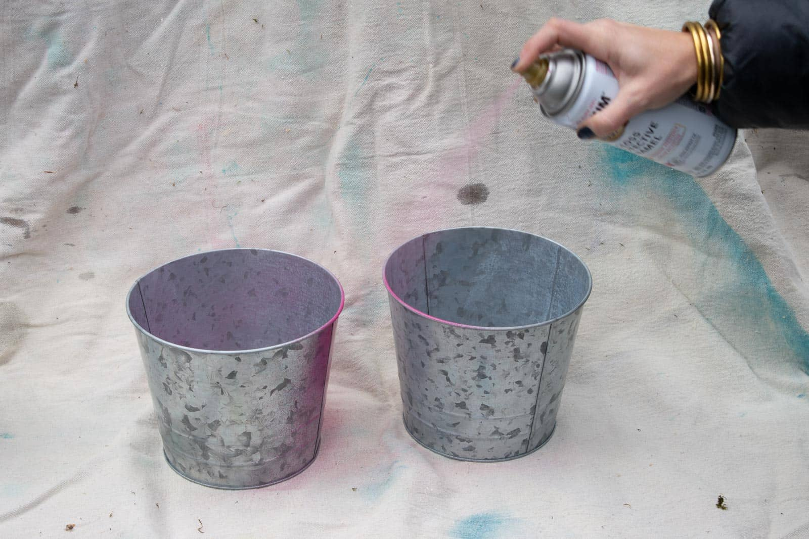 spray painting metal planters