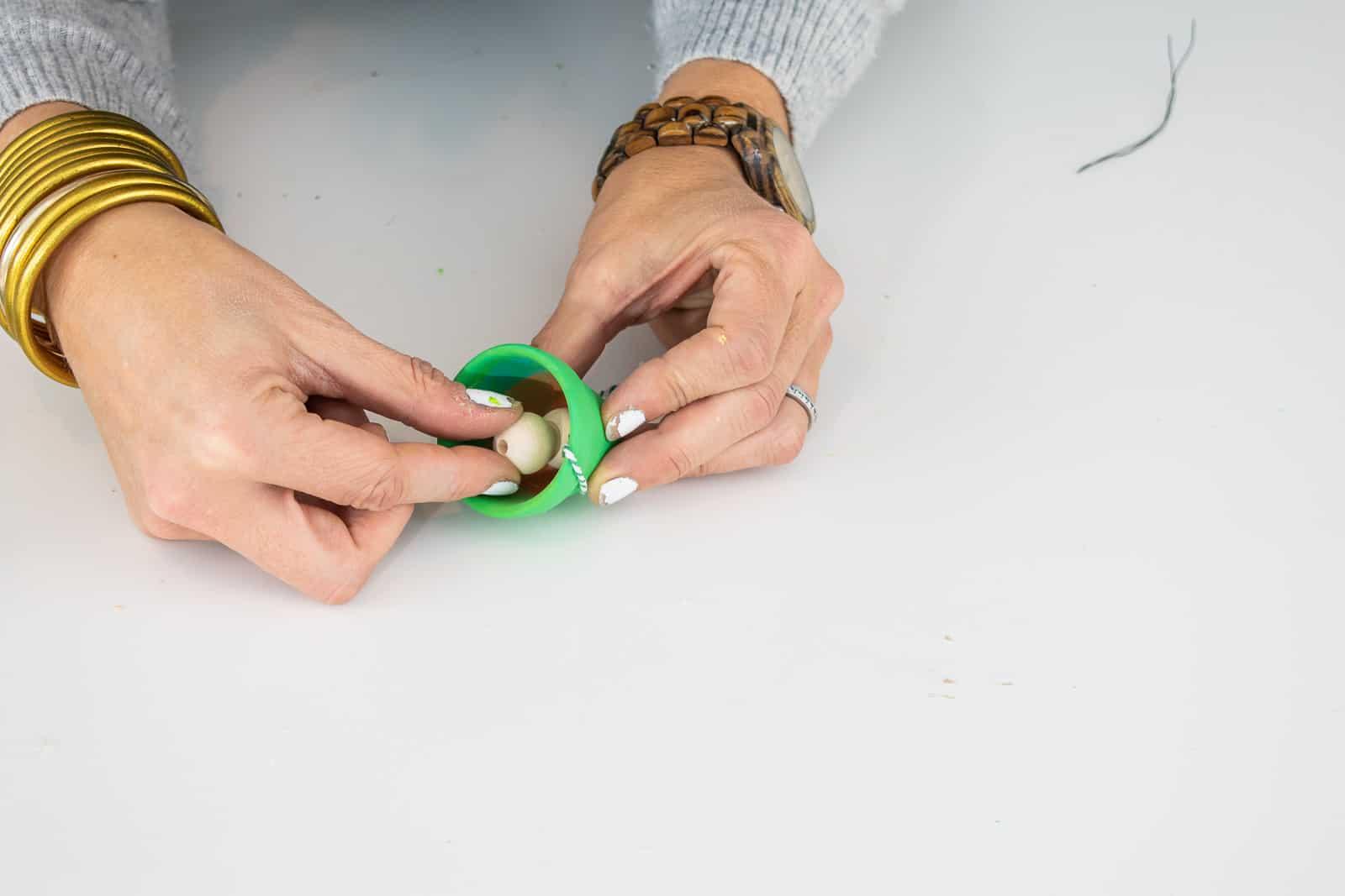 glue beads into pot