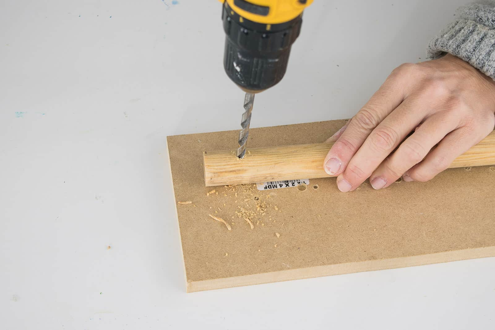 drill holes in dowel