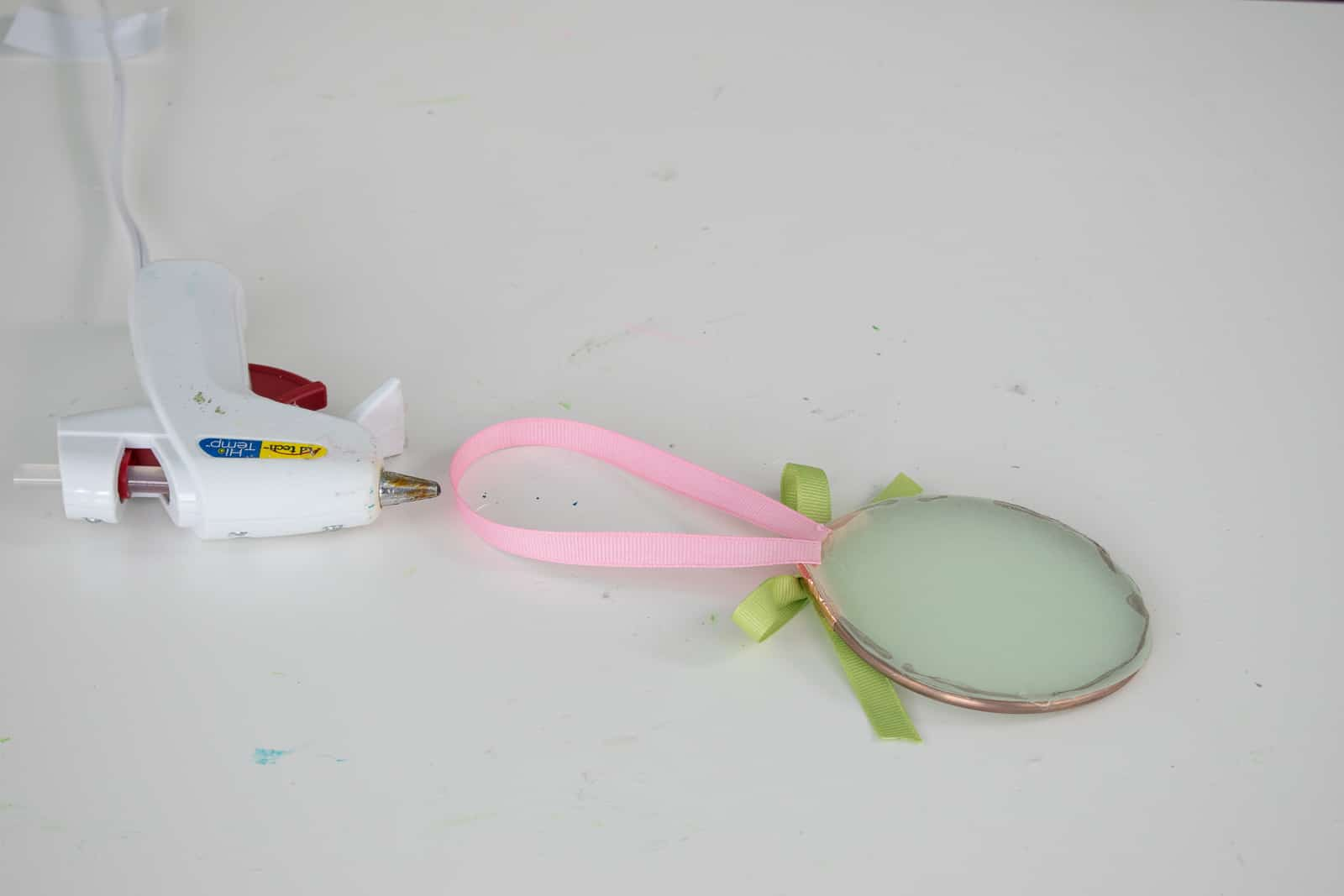 glue ribbon bow and add loop