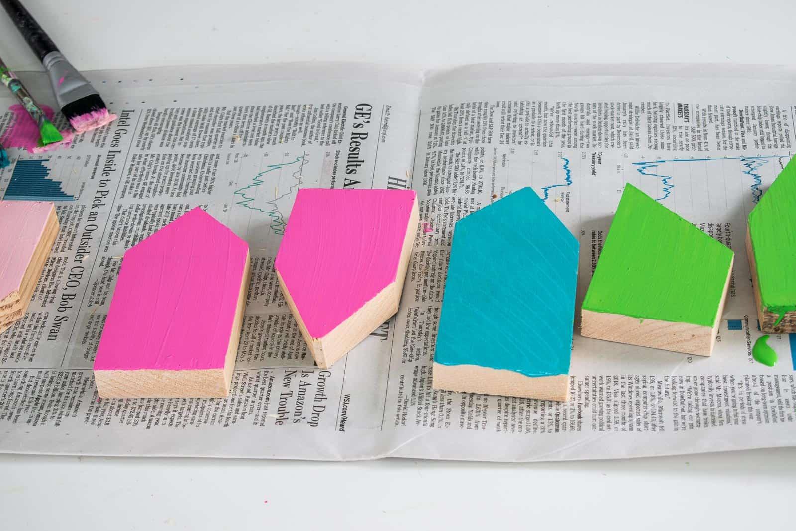 paint the scrap wood houses