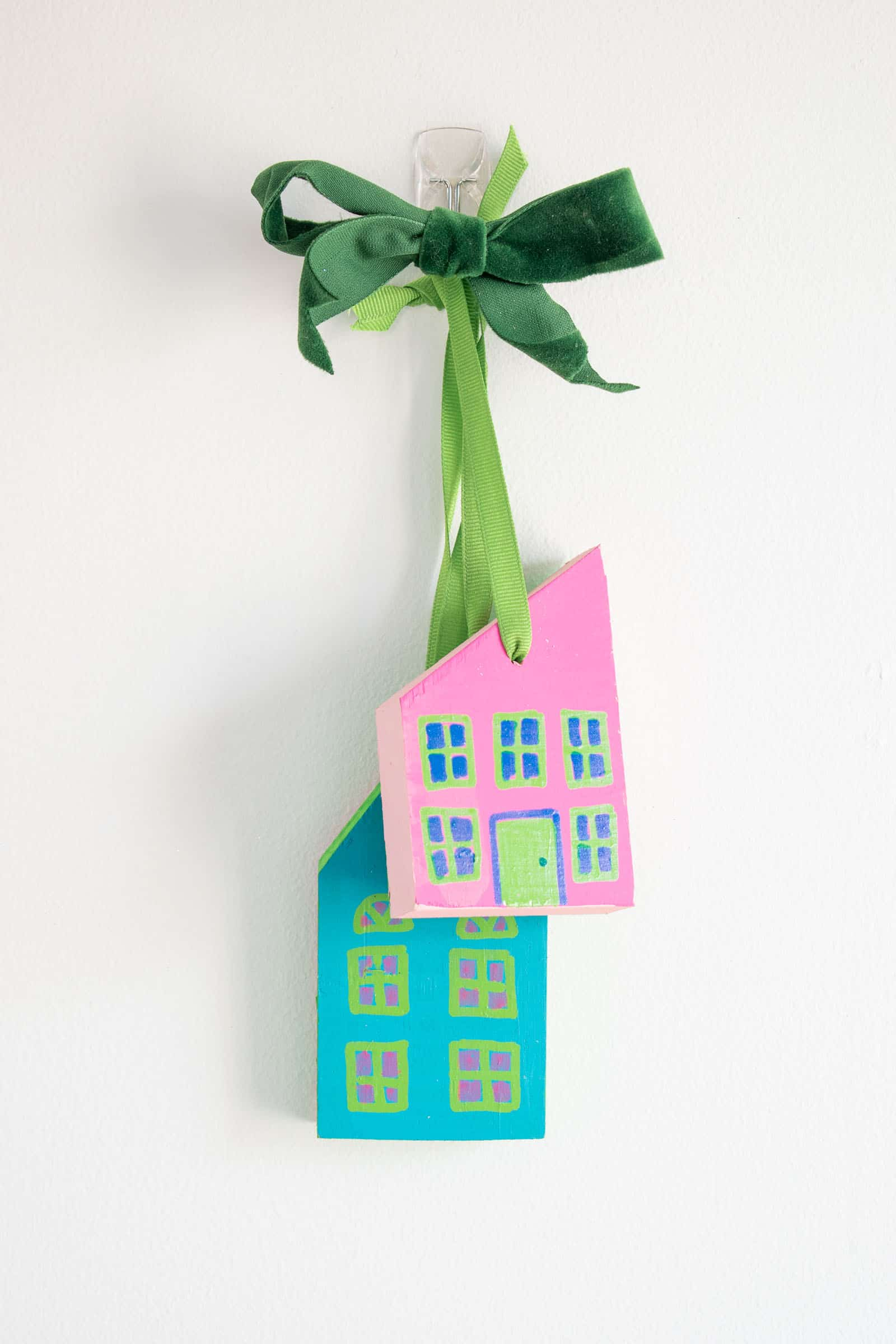 scrap wood painted house ornaments