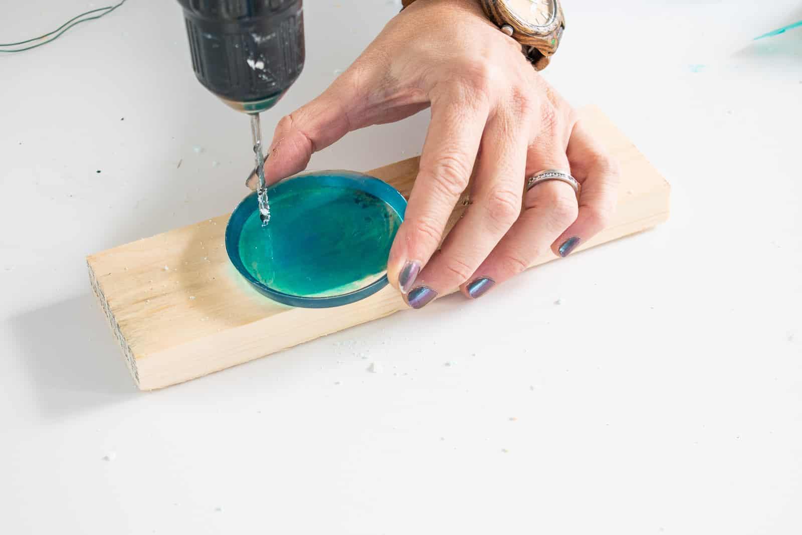 drill a hole in epoxy ornament