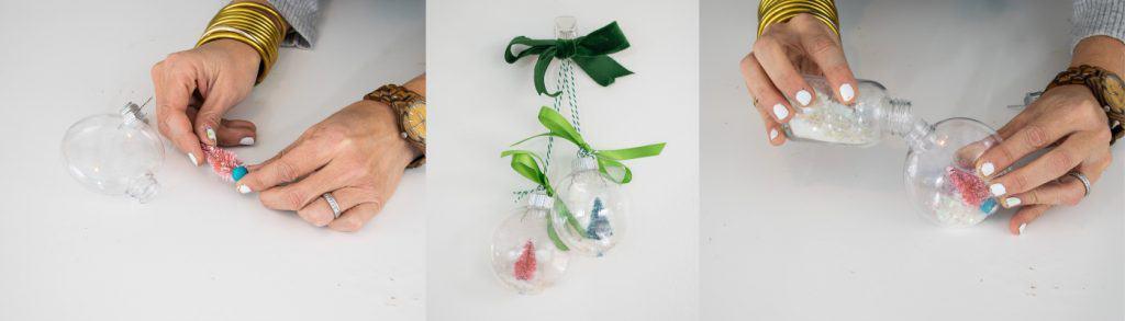 glitter plastic snow globe ornament