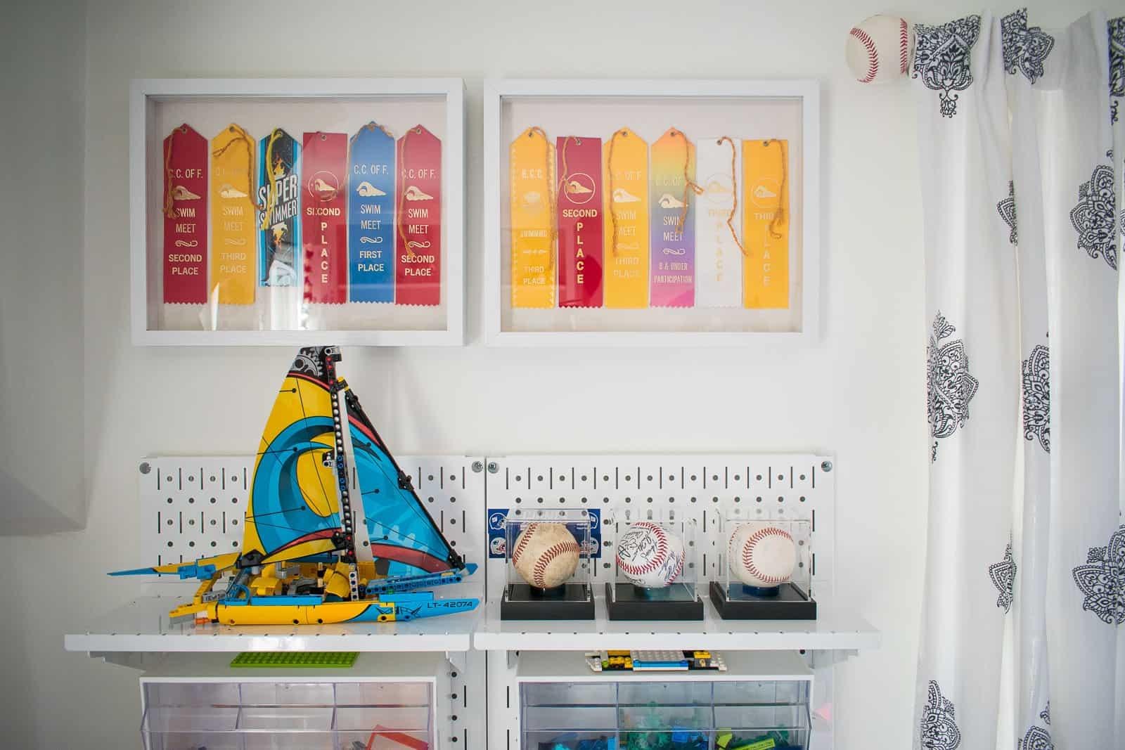 swimming ribbons displayed