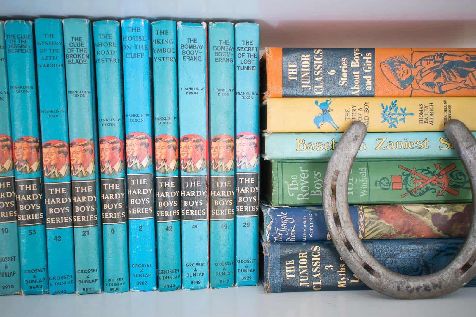 detail of boys room bookshelf