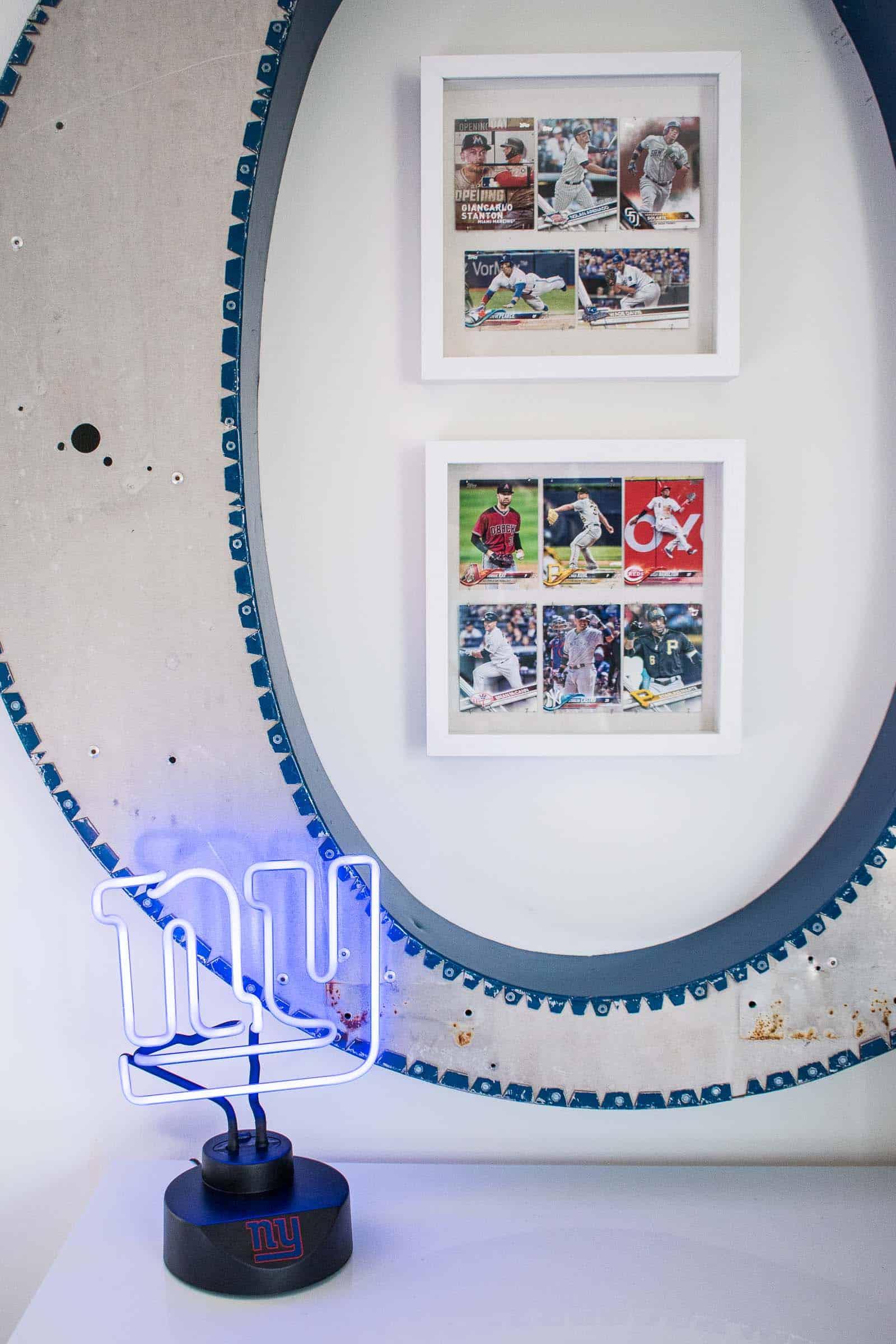 baseball cards displayed
