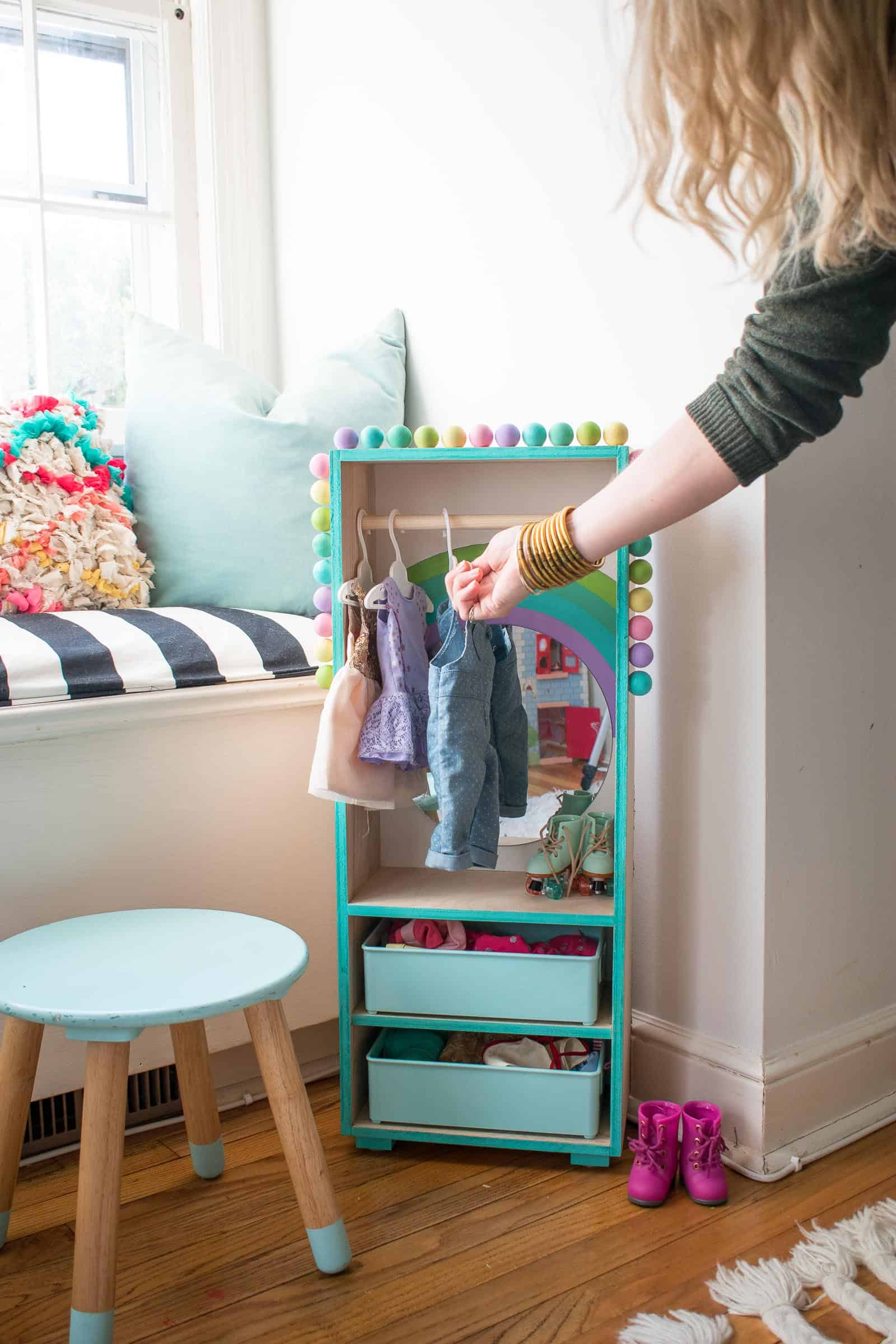 colorful doll clothes closet