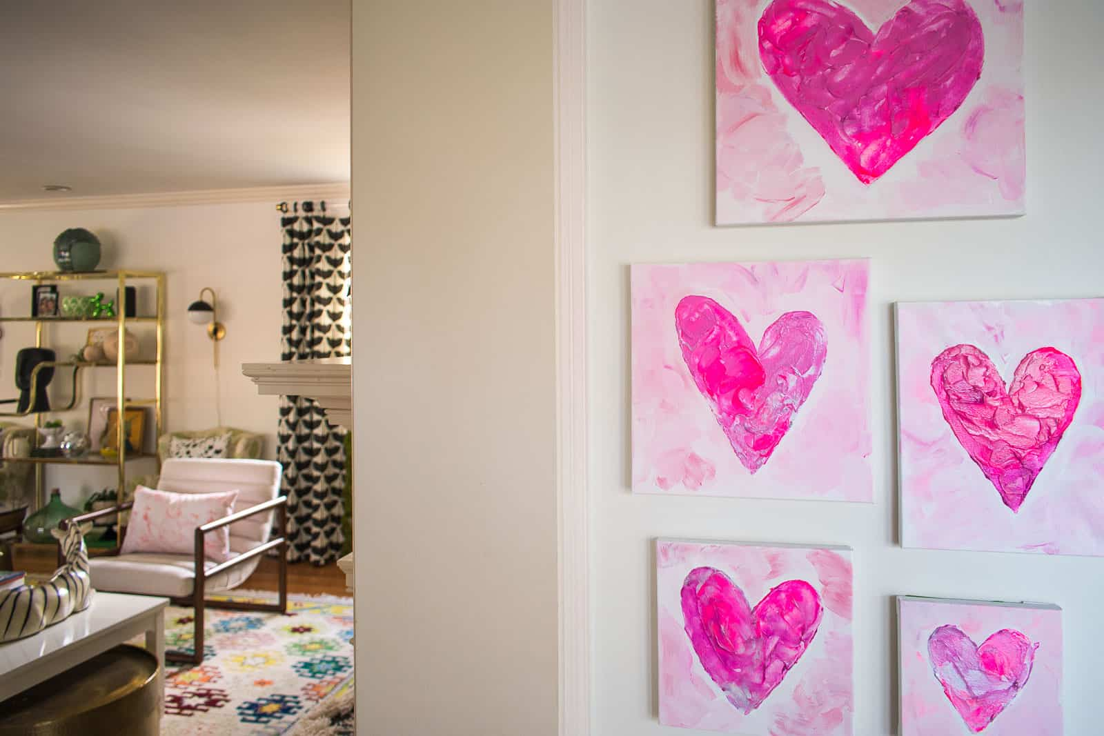 valentines gallery wall in family room