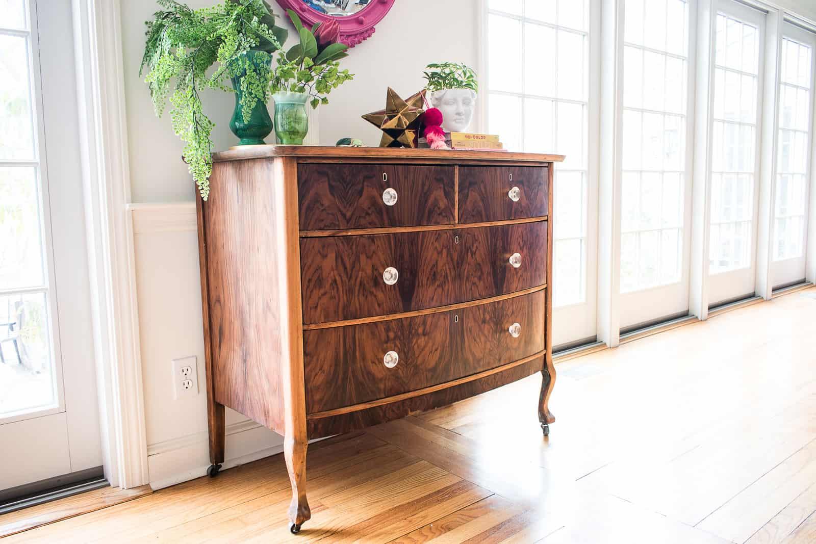 refurbished wooden dresser