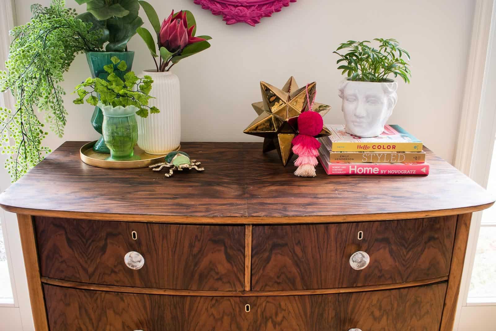 refinished wood dresser top