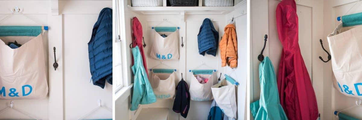 DIY Canvas Mudroom Storage Bags