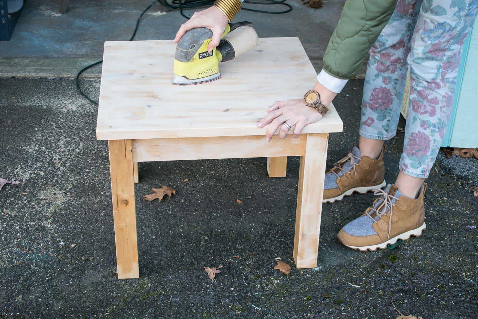 sand wooden table