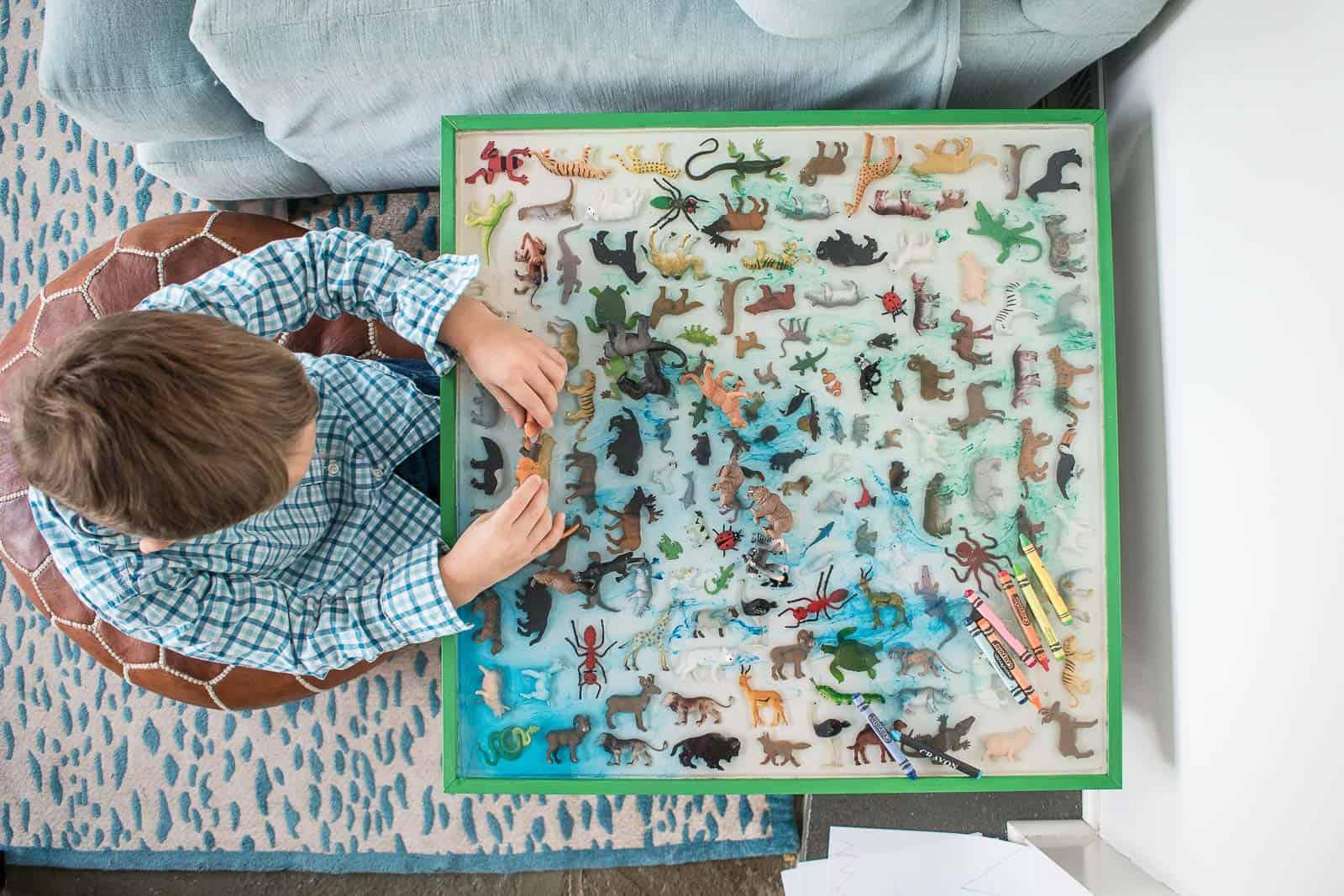 safari animal in epoxy table