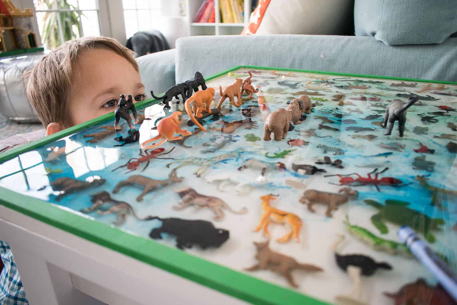toy animals set into epoxy for table top