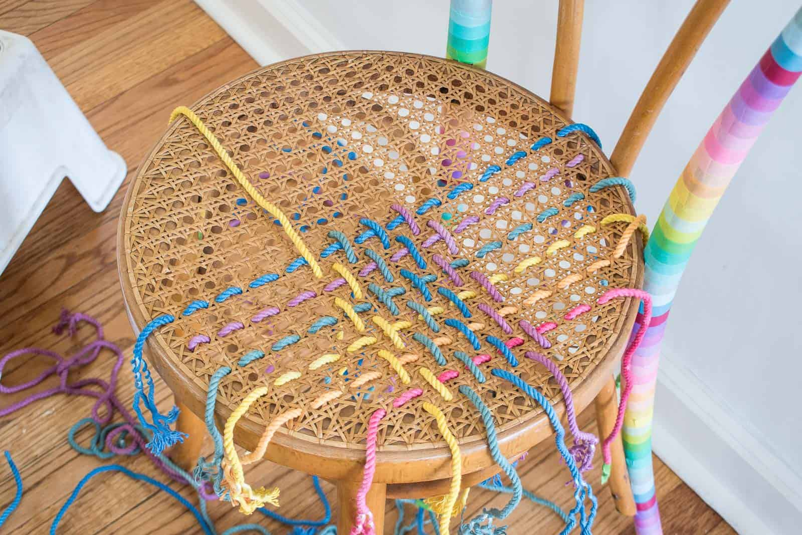 finding a pattern for weaving rope through the cane seat