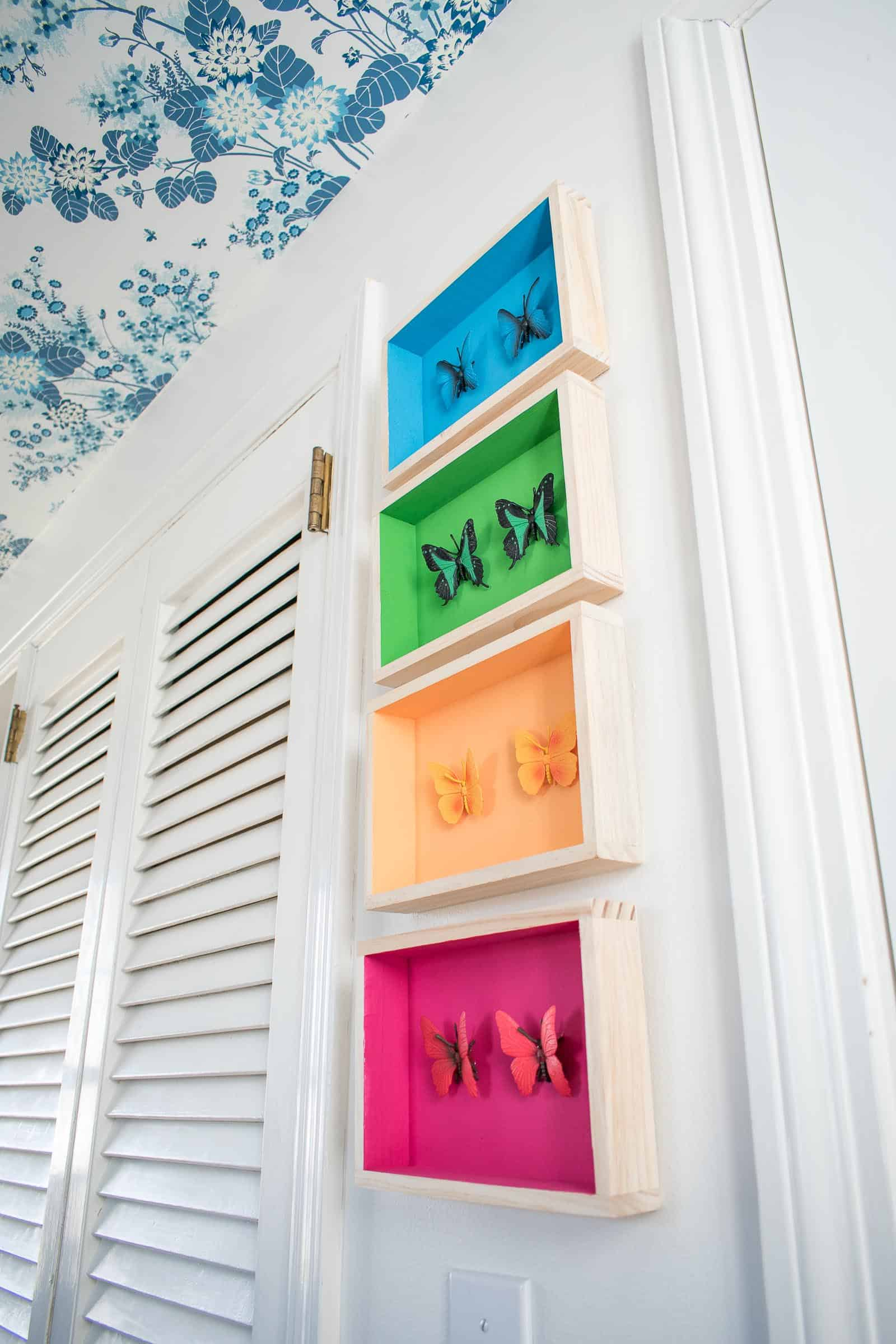 colorful painted shadow boxes