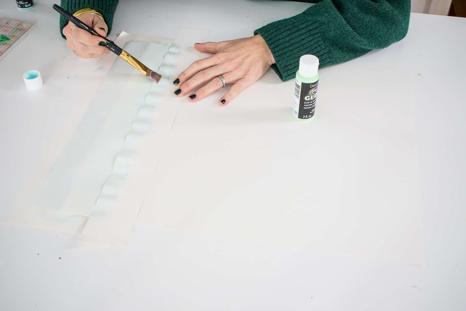 painting stripes on watercolor paper