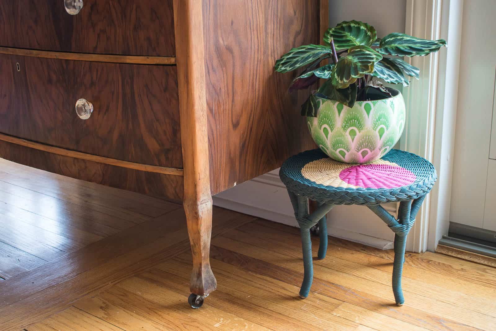 suede paint on wicker plant stand