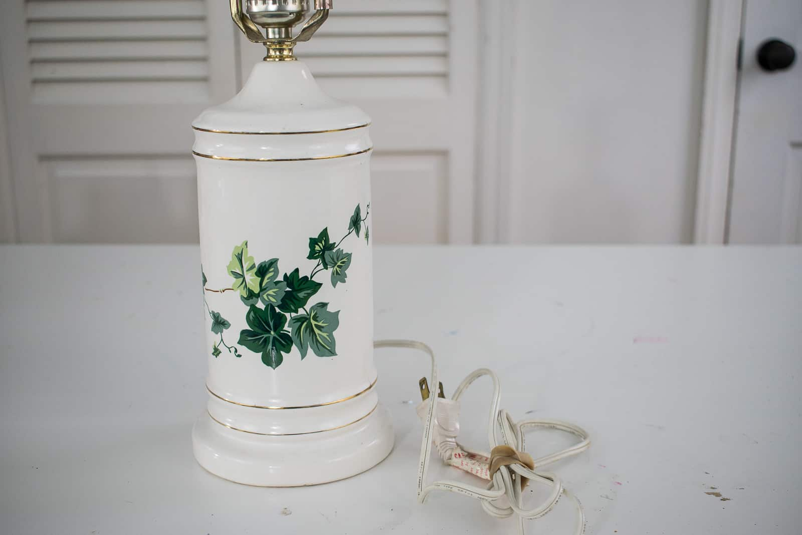 ivy painted thrift store lamp