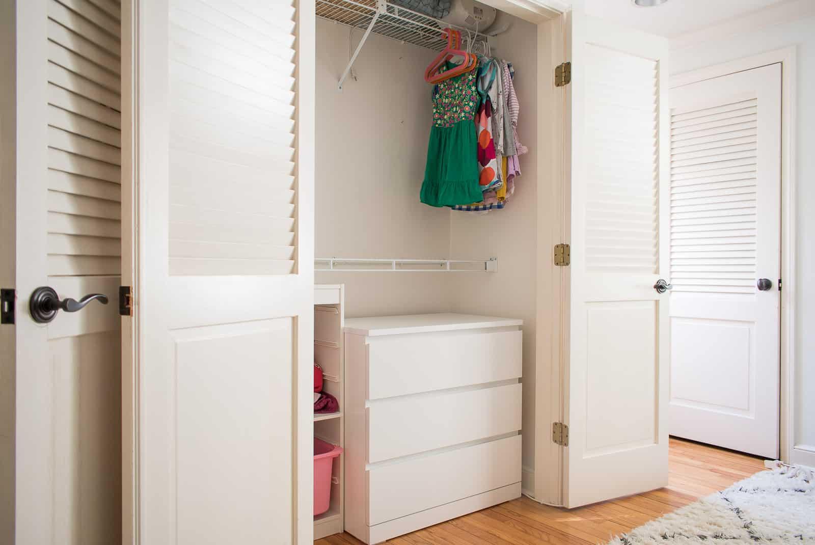 adding Ikea storage to kids closet