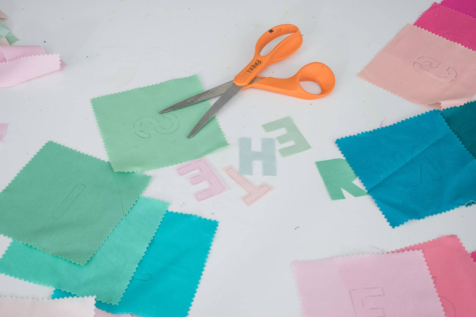 cut out the fabric letters