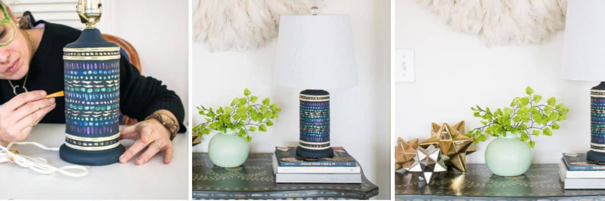 Metallic Painted Lamp Makeover