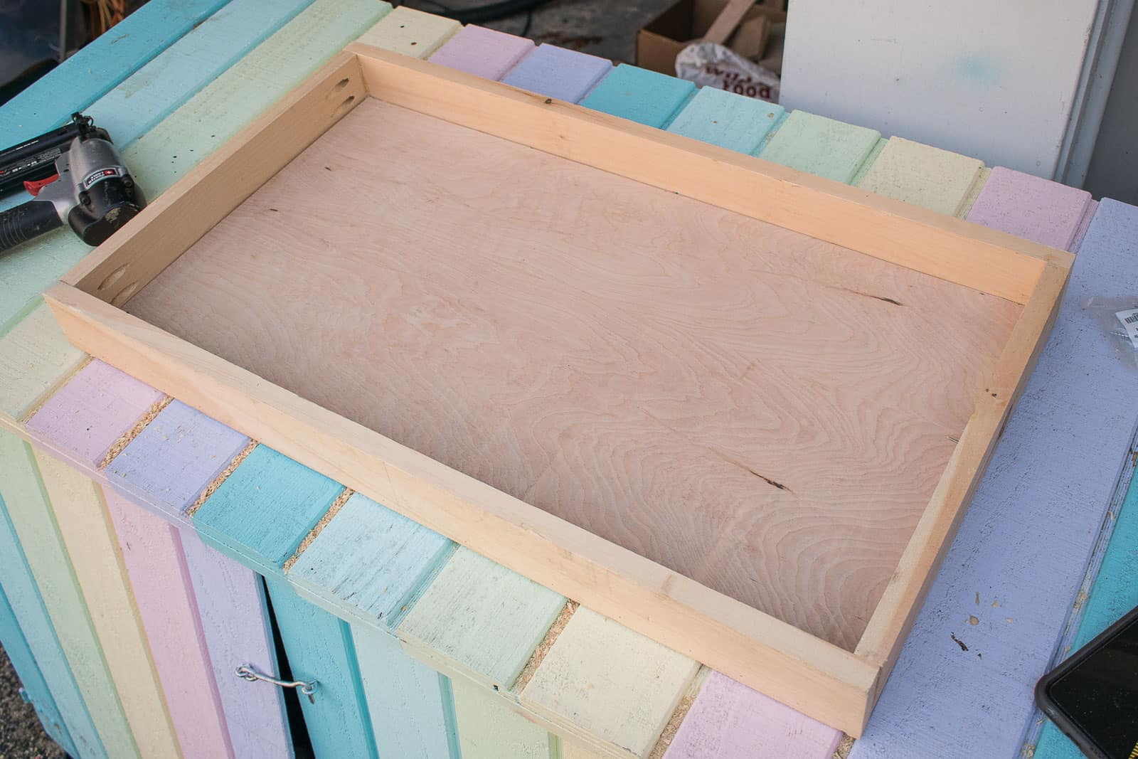 frame for the lid with plywood base