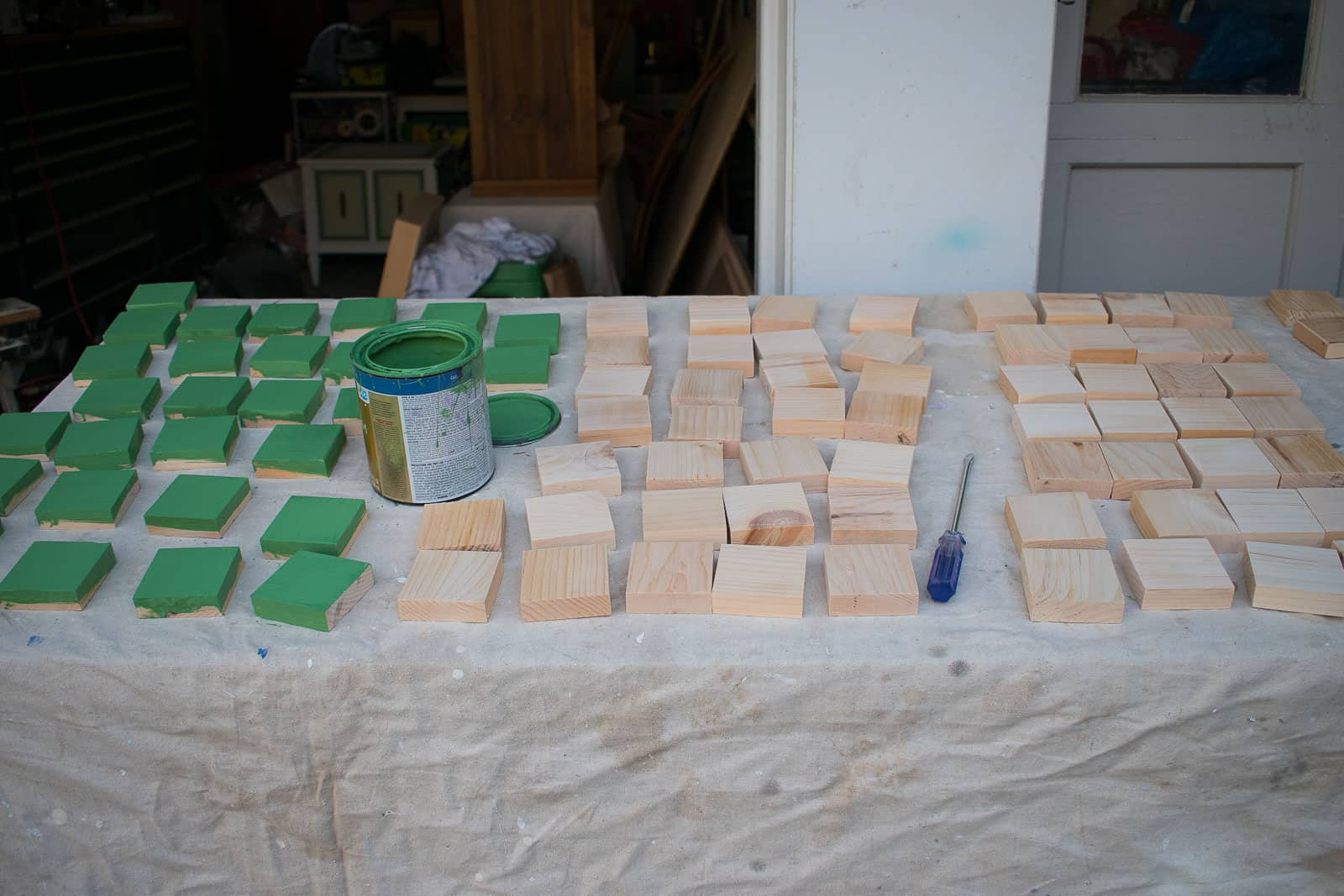 painting the wood squares