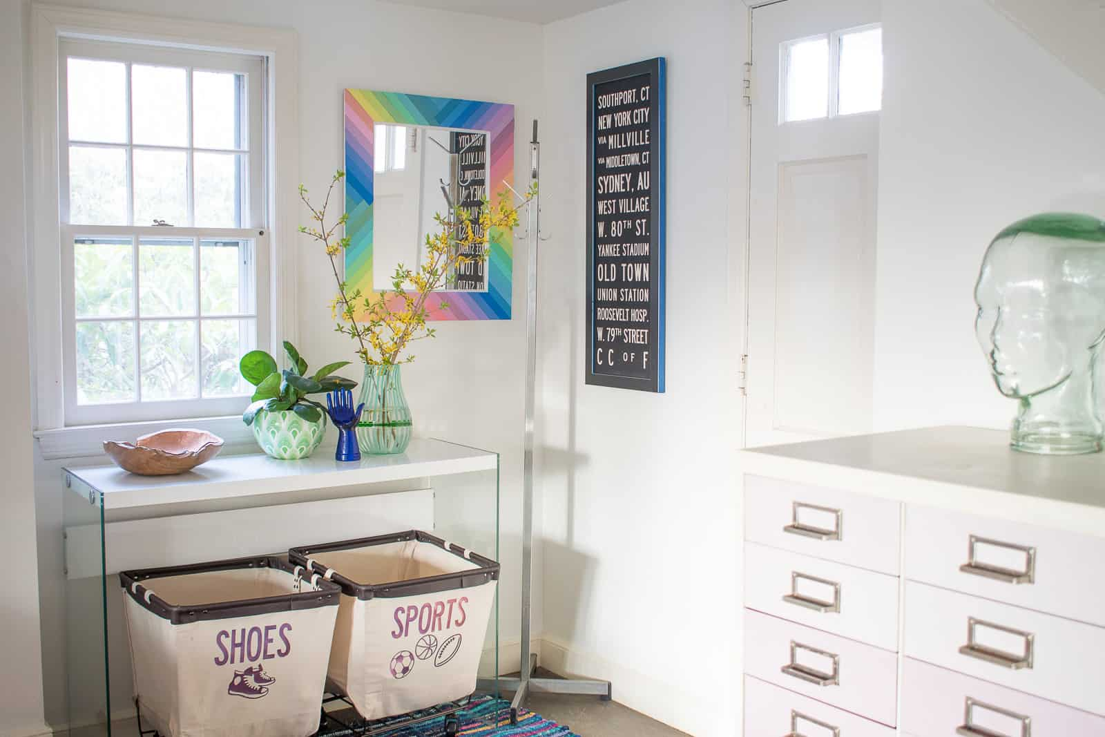 foyer makeover and rainbow picture frame