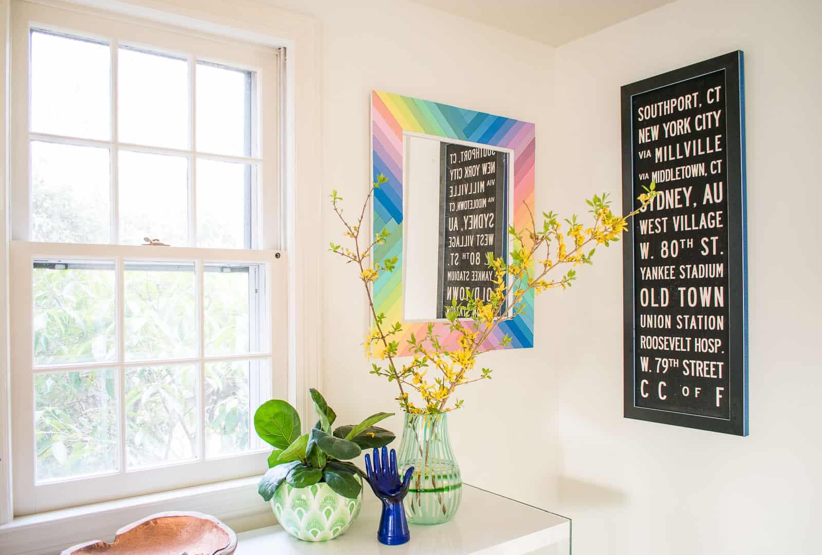 DIY rainbow mirror
