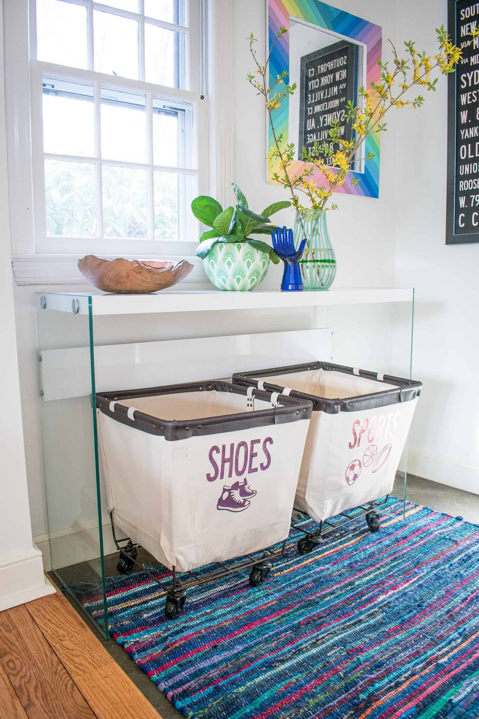 bright foyer makeover with extra storage