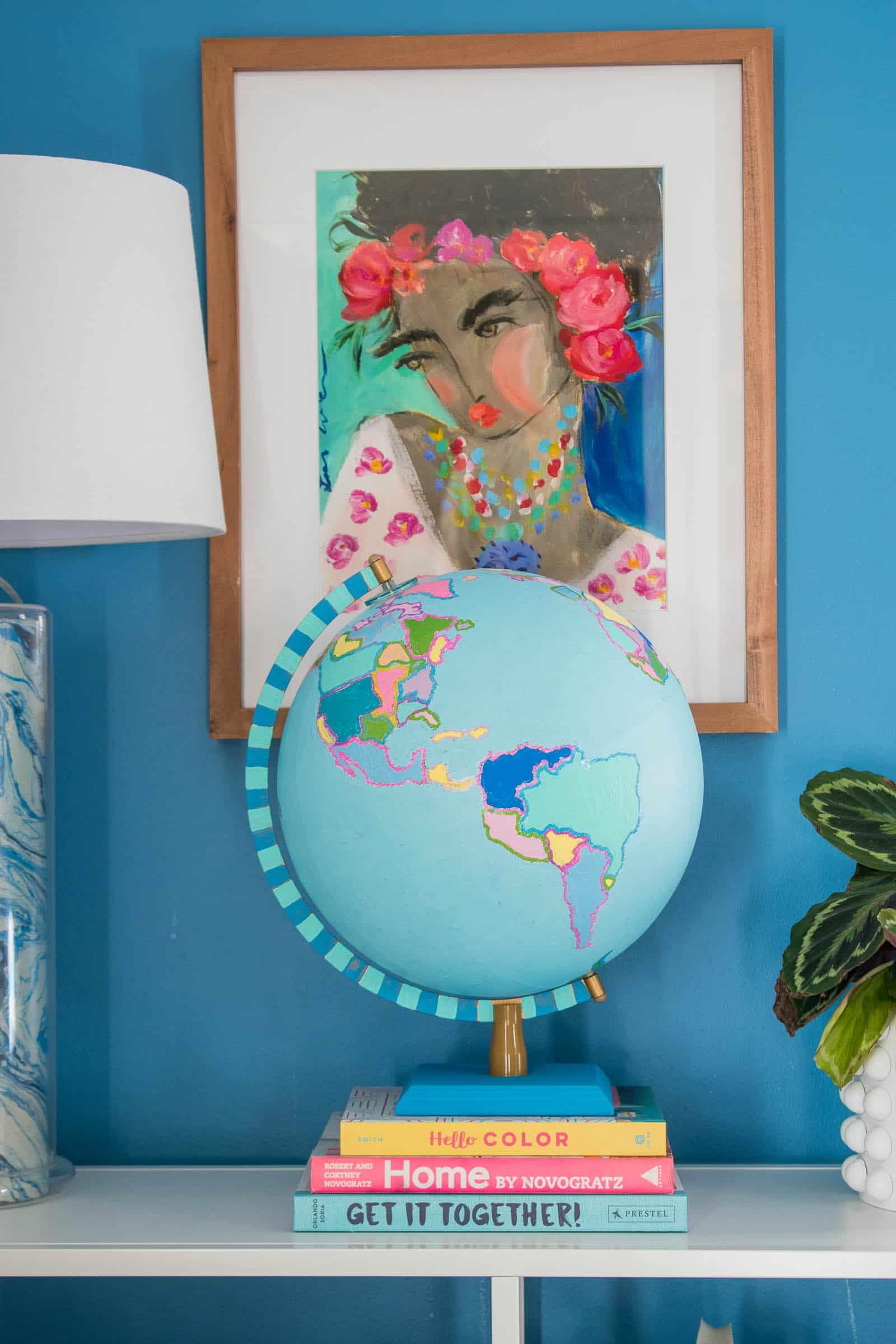painted thrift store globe