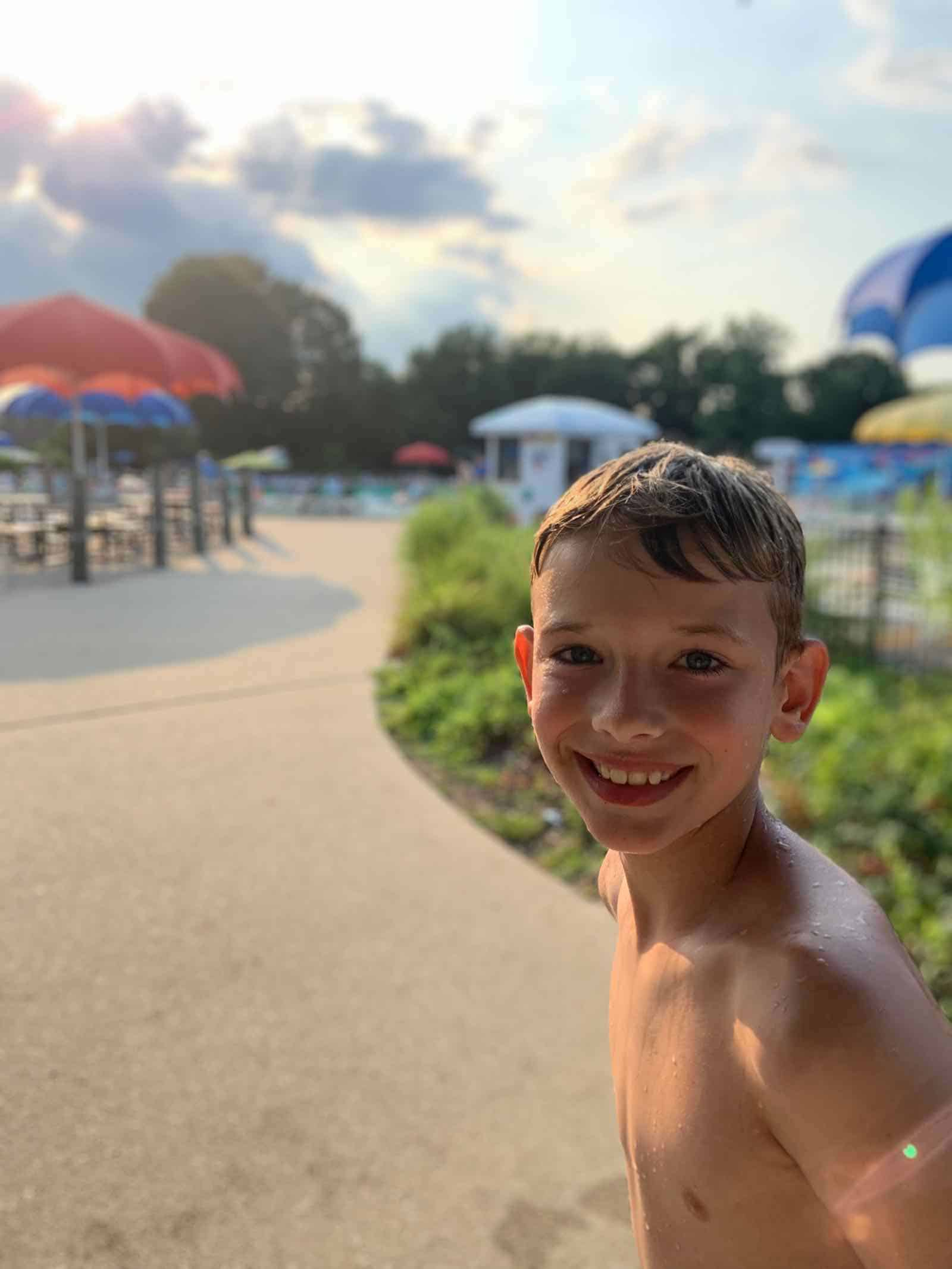 our son at the water park