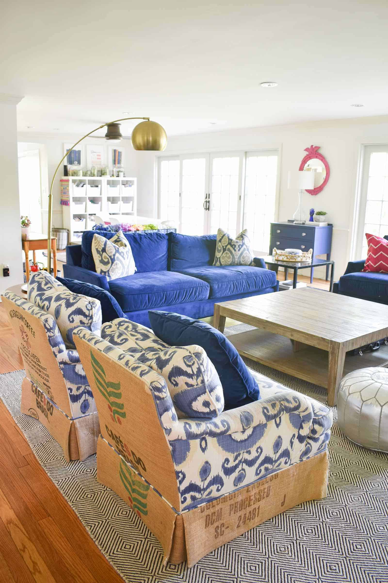 colorful family room decor