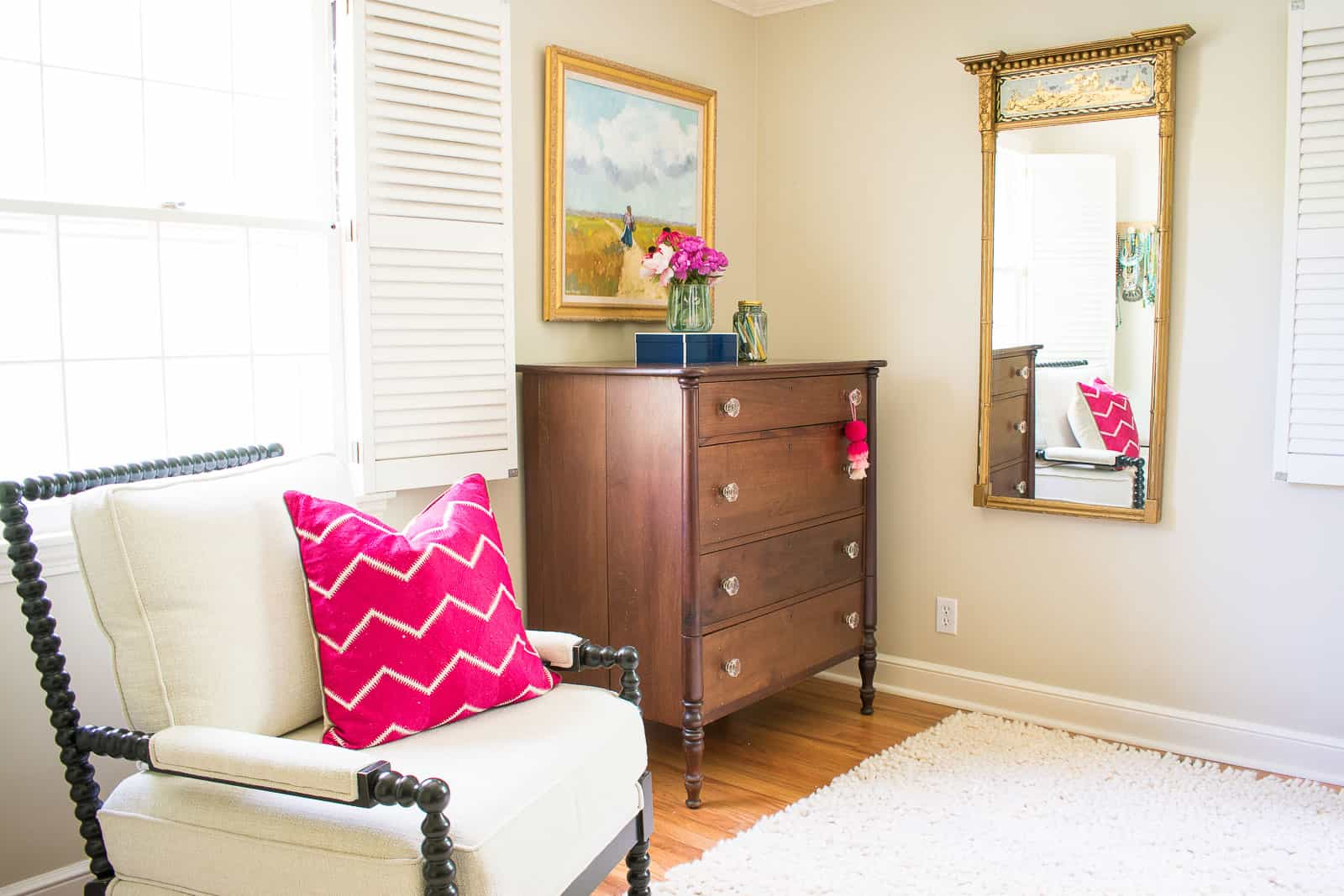 adding pink to one end of the bedroom