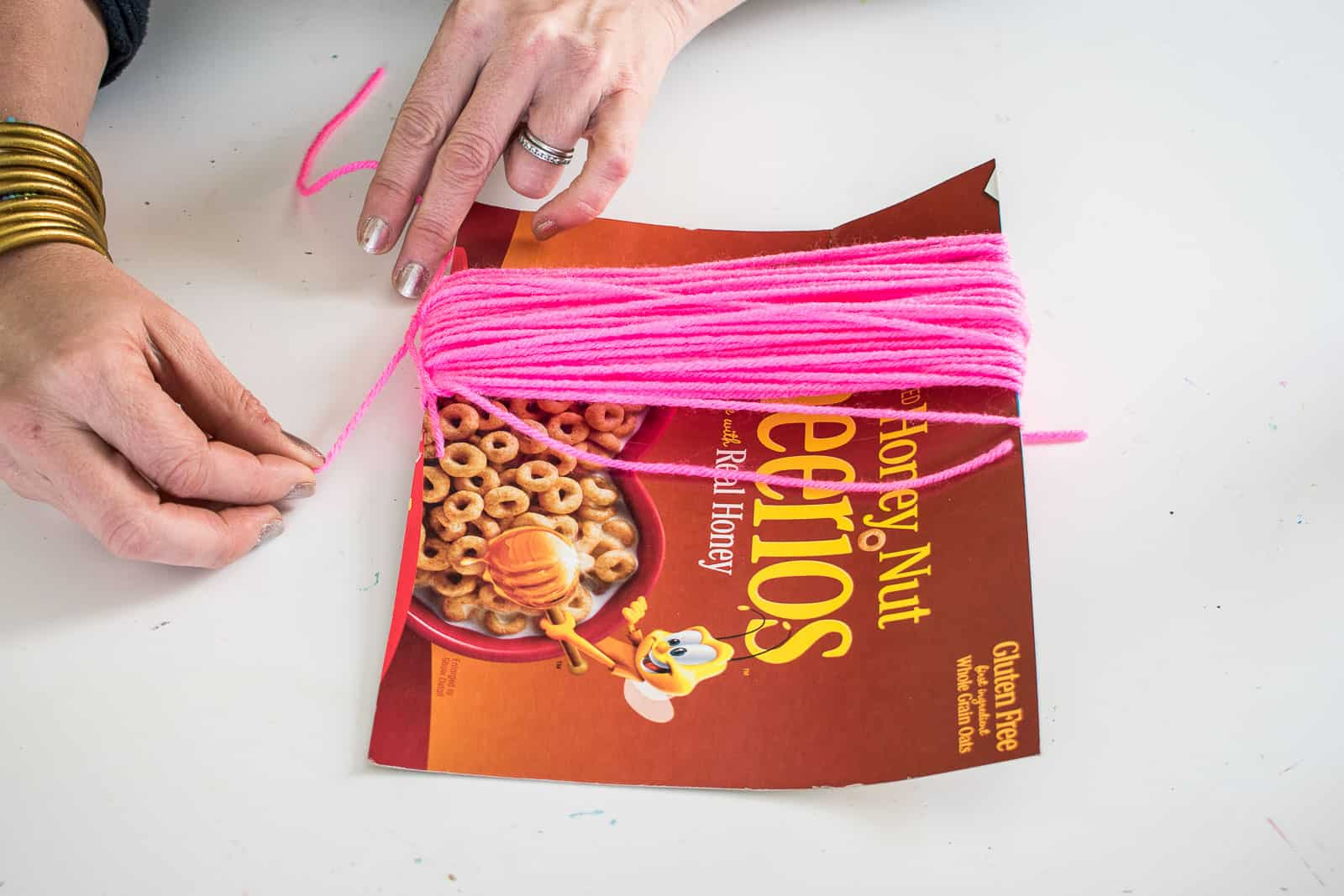 tie off the loops of yarn
