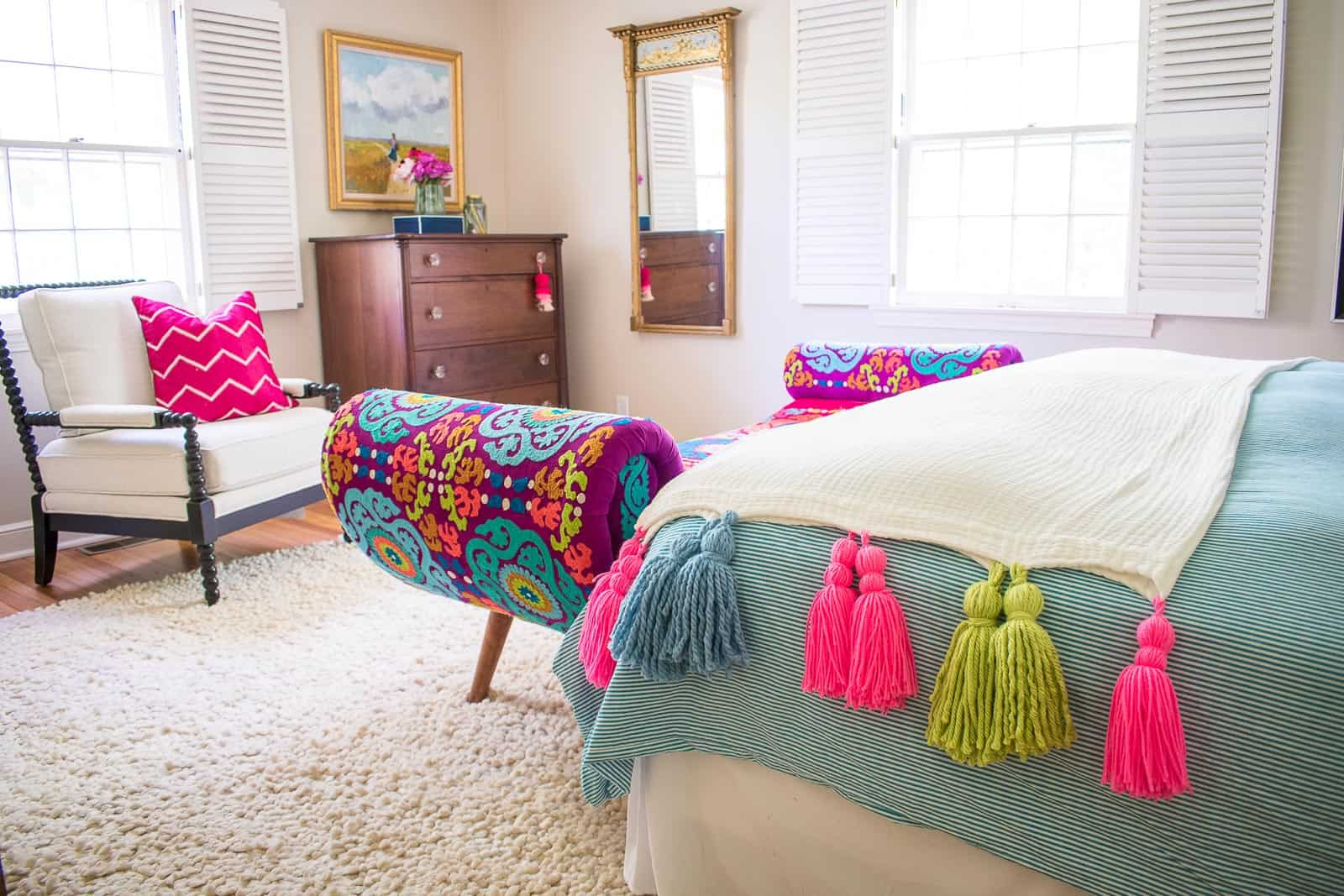 tassel blanket in master bedroom