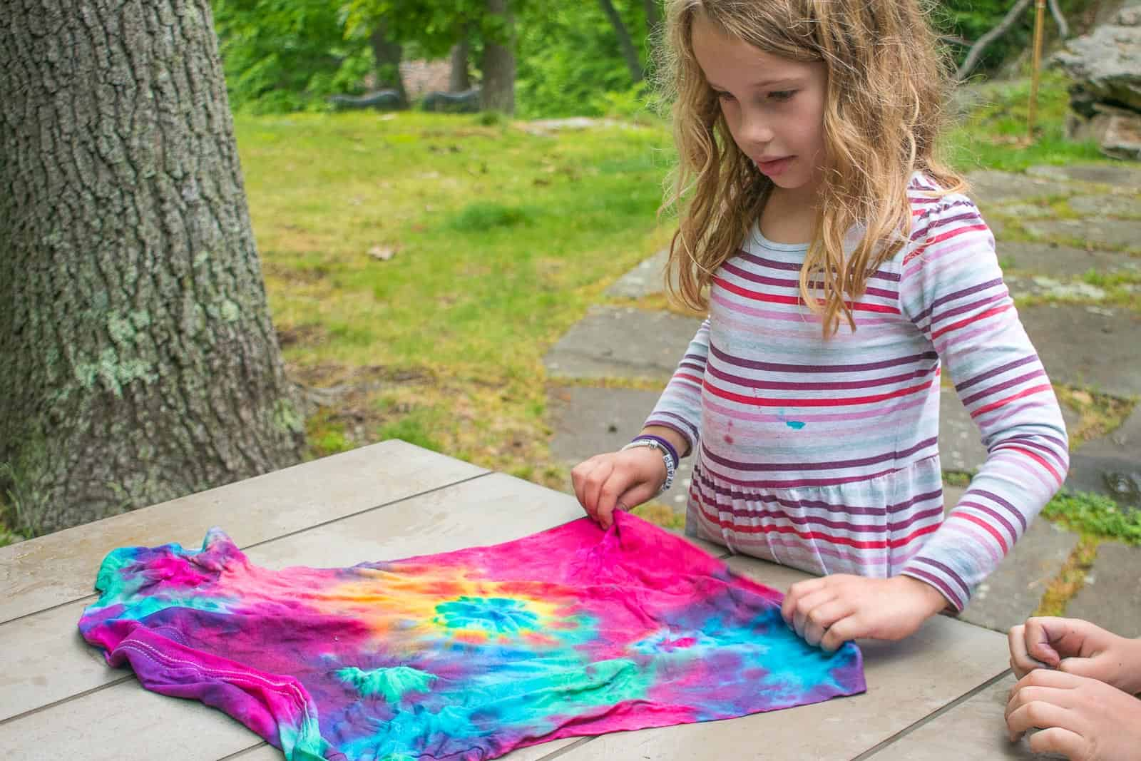looking at finished tie dye