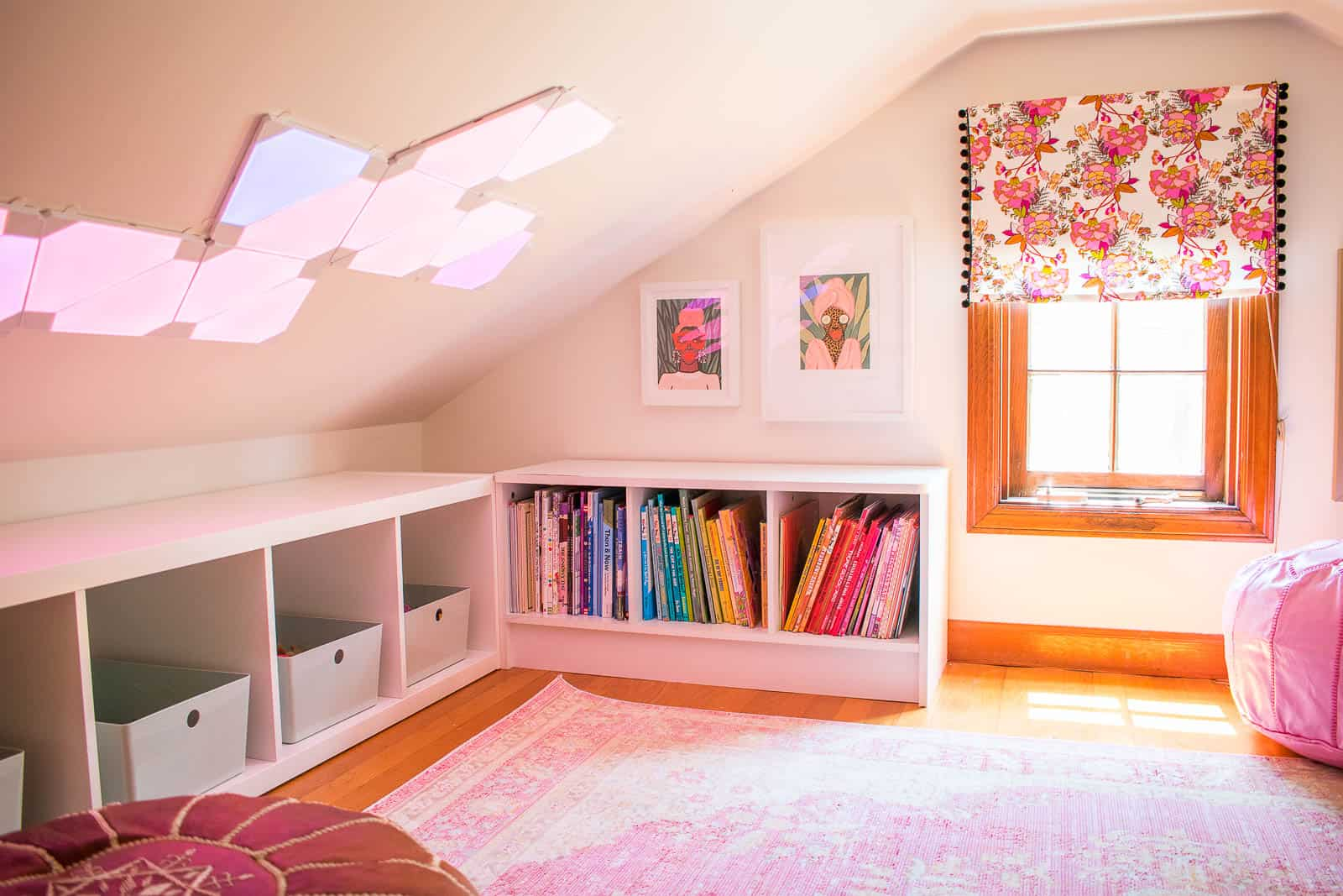 LED tiles in reading nook