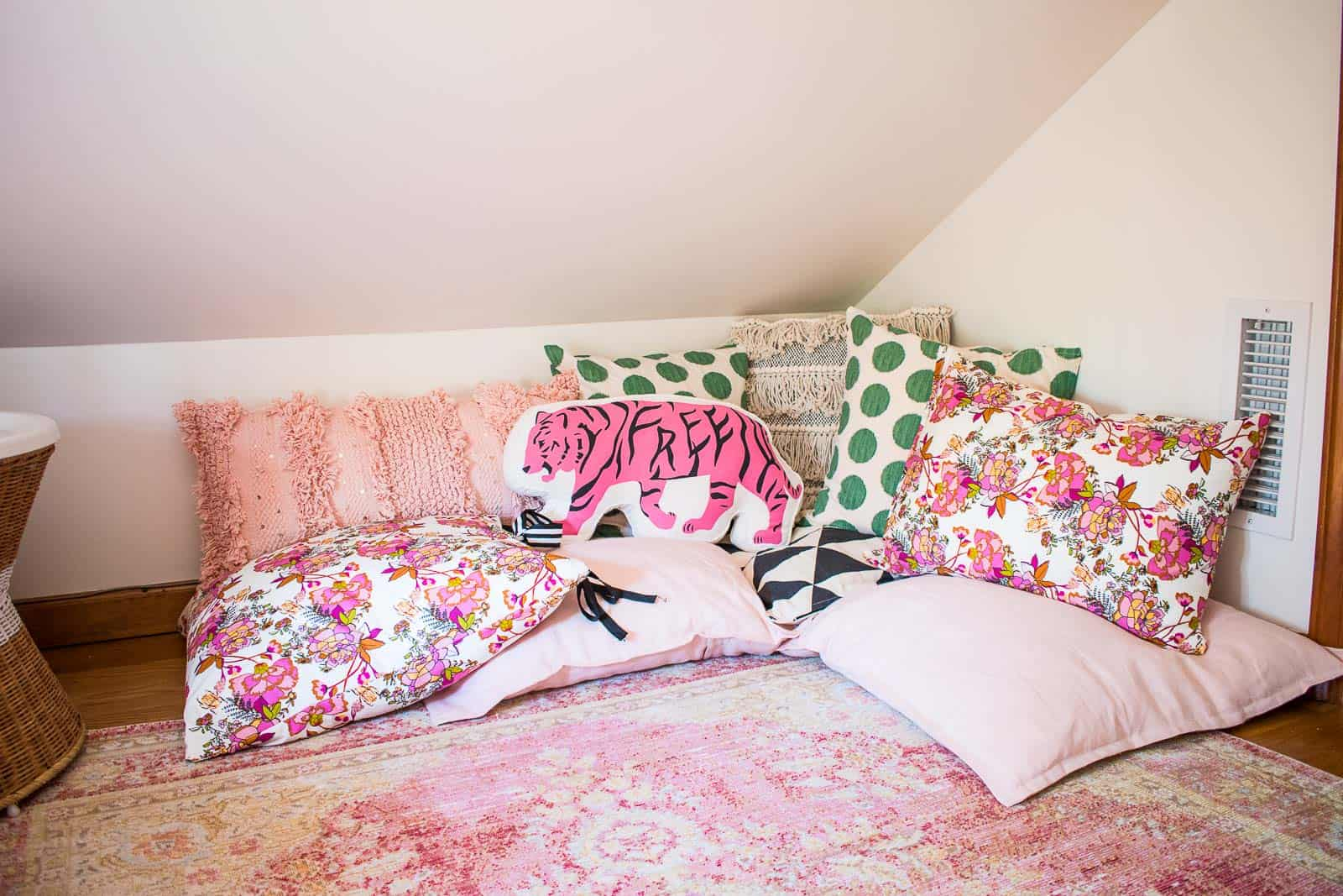 pillows in corner of reading nook