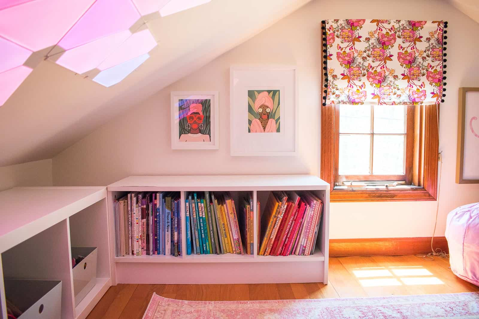 fabric valance in reading nook